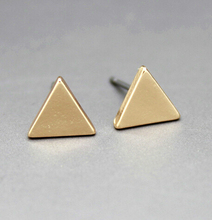 E056 font b Fashion b font 18K Gold Plating Brief Triangle Square Round studs font b
