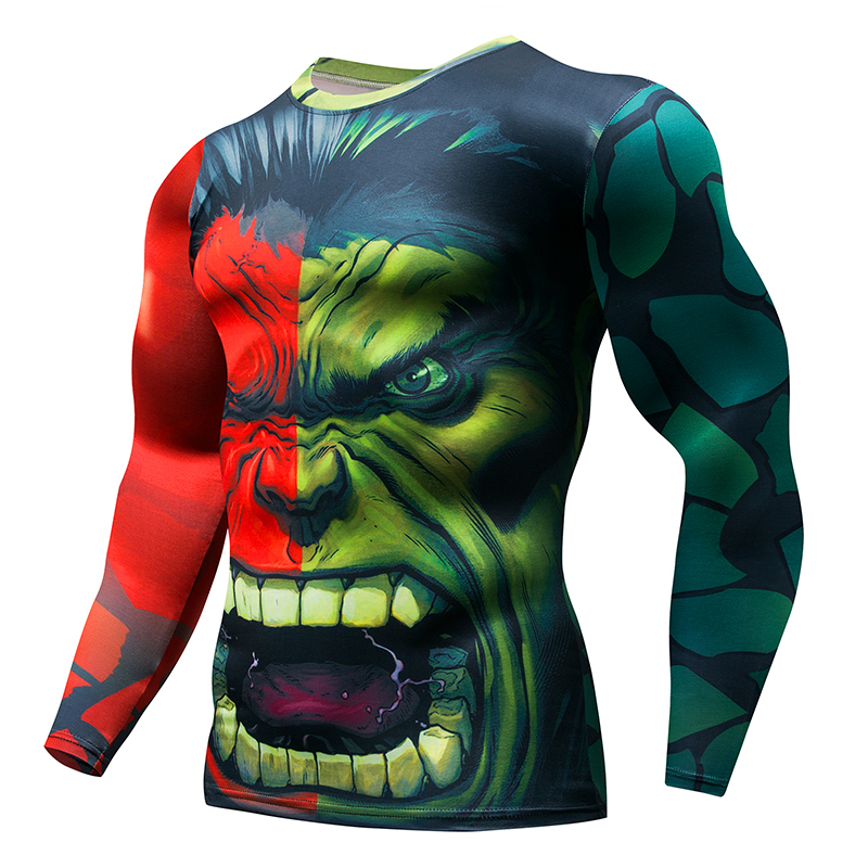 Hot Bike Fitness Base Layer Compression Shirt Men's Anime Bodybuilding Long Sleeve 3D Hulk Punisher Jersey