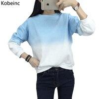 Fashion Long Sleeve Sweatshirts Slim Autumn Moletom Round Neck Gradual Change Printing Sudadera M XXL Loose