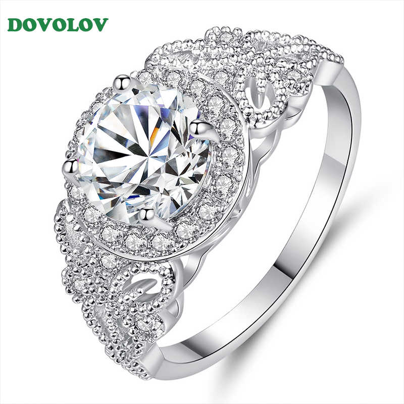 Fashion Luxury Female Ring For Women Crystal Zircon Stone Ring Vintage Wedding Rings For Women B501