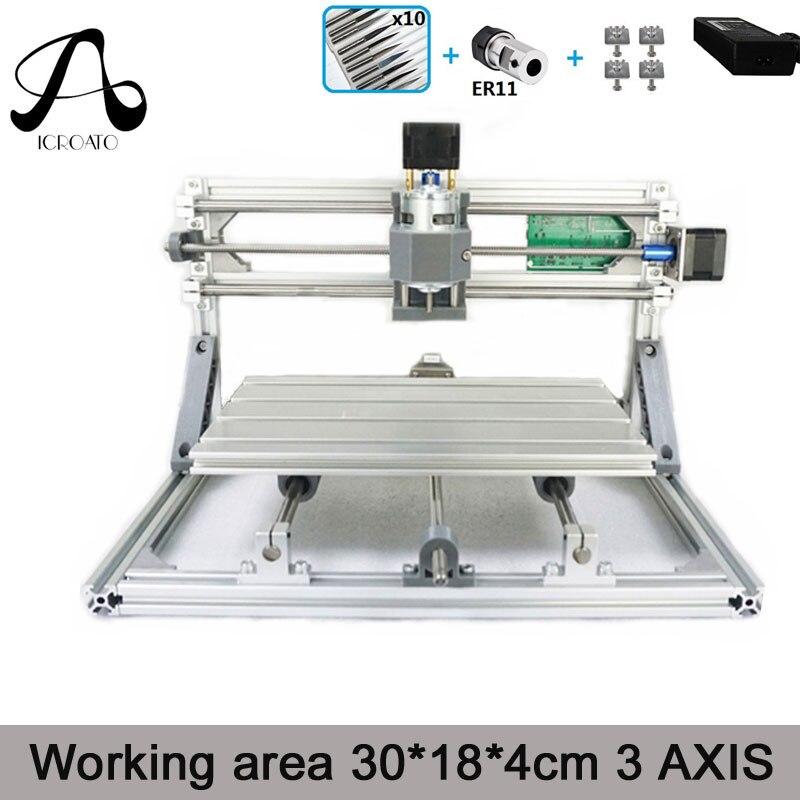 CNC bois rond 3018 GRBL contrôle bricolage mini CNC machine, zone de travail 30x18x4 cm, 3 axes Pcb fraiseuse, routeur en bois