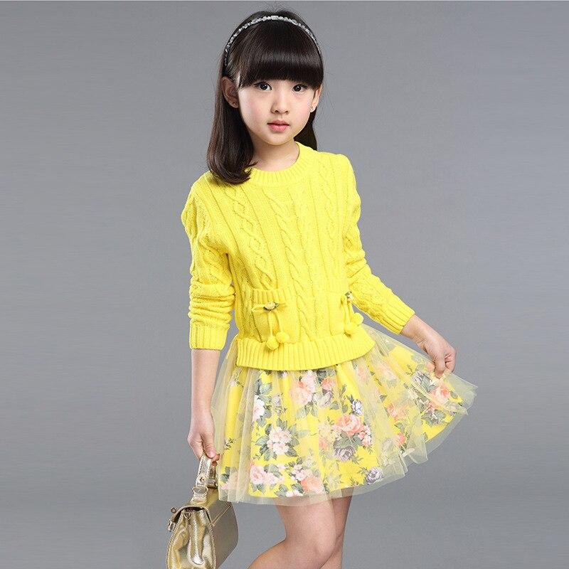2016 autumn winter Girl Set Dress Cotton Knitting Tulle Baby TuTu Long Sleeve Knit Sweater baby girl dress 6-12y