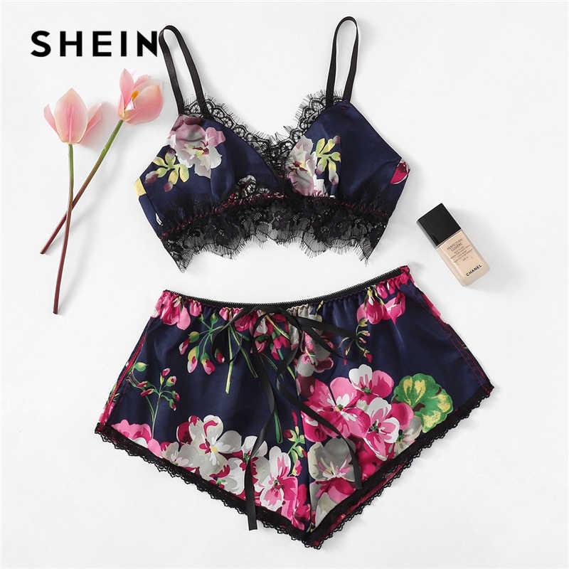 SHEIN Sexy Women Lace Trim Floral Satin Ribbon Lingerie Set Sleeveless V  Neck Cami Pajamas For d202c1496