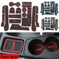 19 pcs antiderrapante para mitsubishi pajero sport acessórios palavras logotipo em Adesivos de Carro Porta Copo Mat Ranhura Portão Pad Ranhura carro-Styling