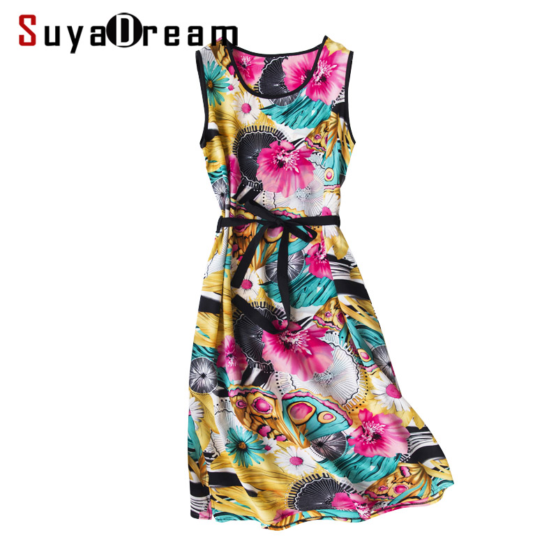 Women Long Dress 100 REAL SILK Crepe Print Dressed Sleeveless Belted Casual Dresses for Women 2019