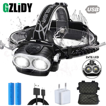 Super Bright Led Headlamp 2xT6 LED Head  Zoomable Headlight Waterproof Torch Flashlight Lamp Fishing Hunting Light