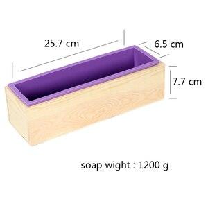 Image 2 - Rechthoekige Zeep Schimmel Siliconen Flexibele Loaf Mould Met Houten Doos Voor Zelfgemaakte Koude Proces 1200G