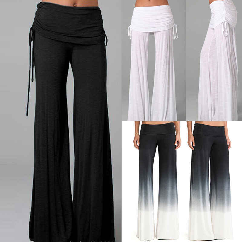 fb9d33f1c8a01 Detail Feedback Questions about Womens Palazzo Pants High Waist Wide Leg  Culottes Long Trousers Casual Plus Size Clothes Casual Loose Solid Flare  Clothing ...