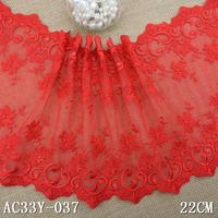 1KG 37Yard 21cm Tulle Embroidered Lace Trim Embroidery Voile Guipure Lace Fabric Dentelle Sewing Accessories Red