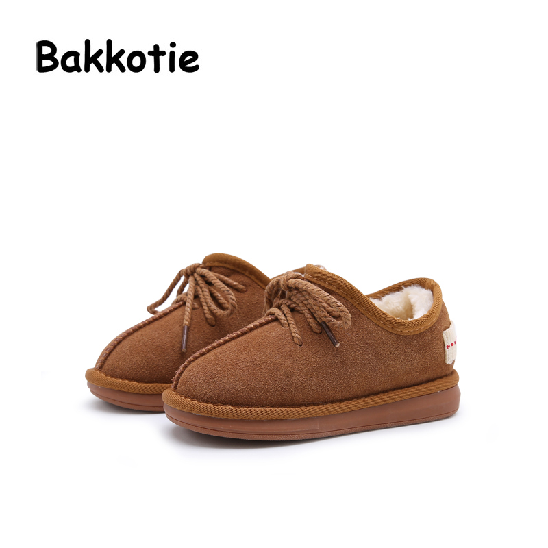 Bakkotie Winter New Child Girl Warm Snow Boots Gary Toddler Boy Shoes Beige Baby Genuine Leather Silp On Plush Brown Flats Pink ...