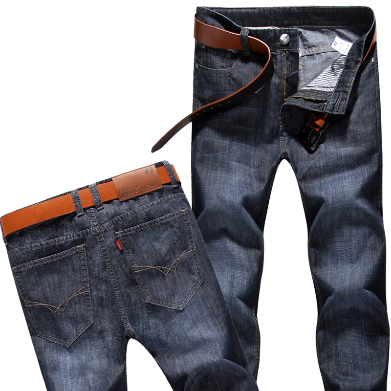 Men's high quality 100%cotton solid color Lightweight Jeans New summer male Straight casual simple style thin denim trousers hot sale women pant 2017 spring new women s fashion high waist jeans female leisure slim trousers girls pencil pants