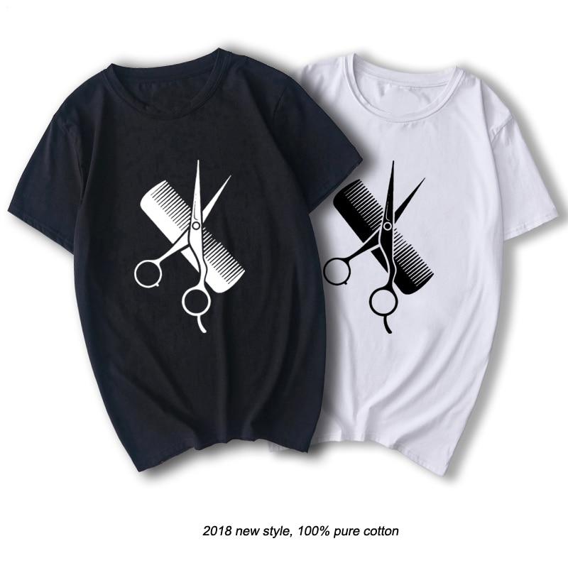 RAEEK Hip-Hop Simple Splicing Tee Tops Shirt Short Sleeve Men Gift Hairdresser Stylist Scissors Comb O-Neck T Shirts