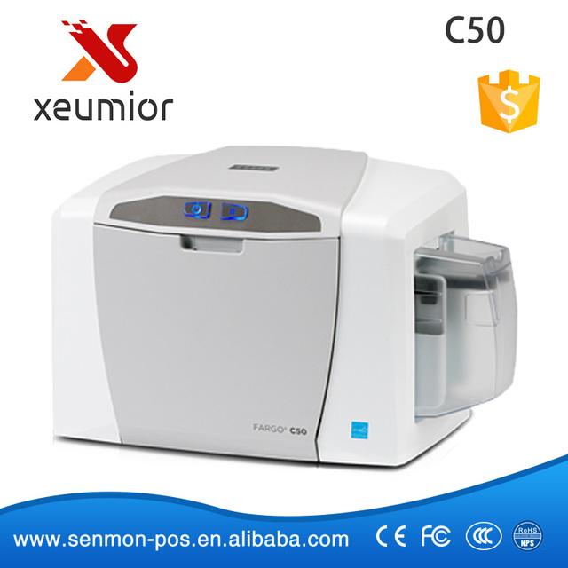 Impresoras fargo tarjeta de identificación de pvc de una sola cara de plástico máquina de impresión de tarjetas c50