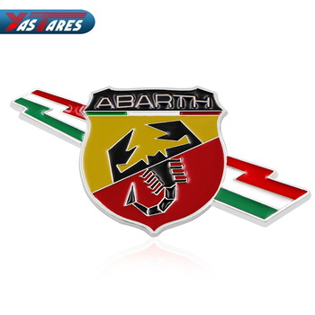 цена на Car Styling 3D Metal Car Abarth Badge Emblem Decal Sticker Scorpion For All Fiat Abarth Punto 124/125/125/500 Car Accessories