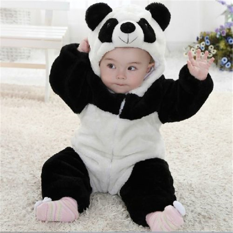 ed7552821f4 New Arrival Baby Boy Girl panda Hooded Zipper Rompers Cute Baby Warm ...