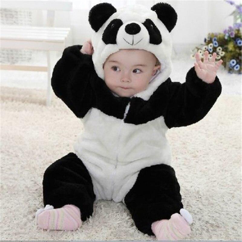 New Arrival Baby Boy Girl panda Hooded Zipper Rompers Cute Baby Warm Costume Onesie Panda Climbing Warm Pajamas Romper Coverall