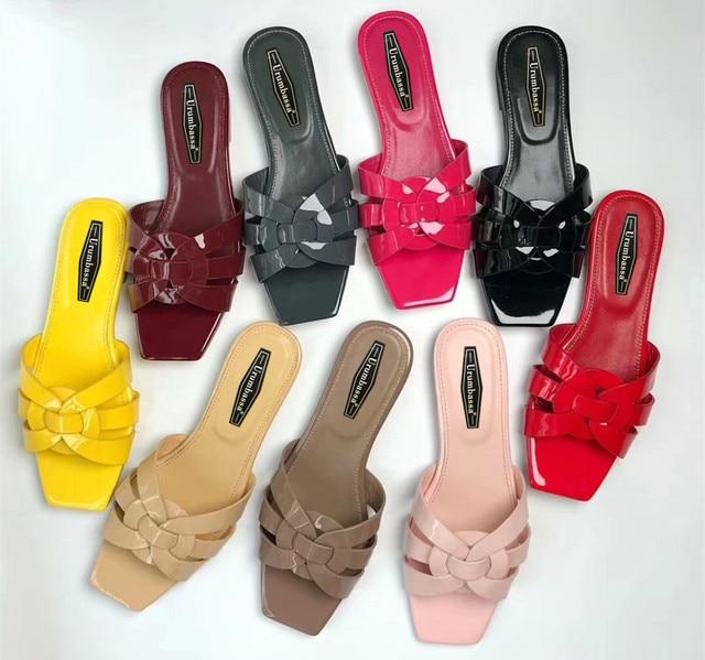Mùa hè bằng sáng chế da flat giày Chic phụ nữ thực da dép đi trong nhà giày bãi biển giày EU35-41 kích thước BY514