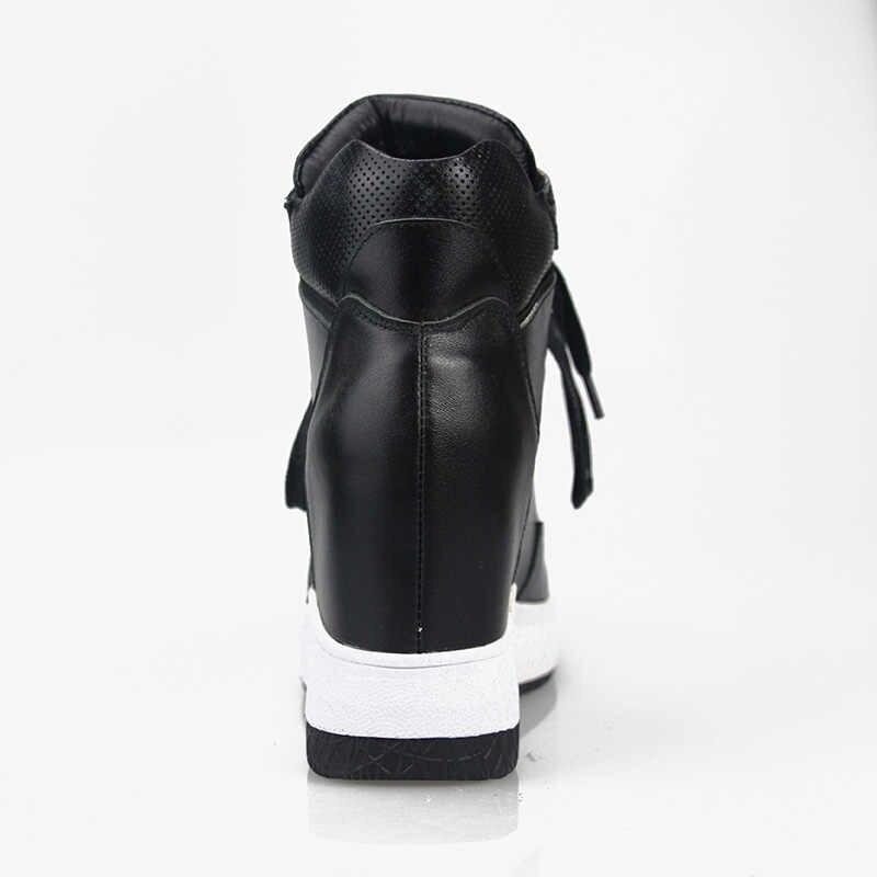 2019 Kadınlar Sıcak Boots Hakiki Deri Yükseklik Artırılması Cut Out Düz Platformu Kısa Peluş Kadın yarım çizmeler