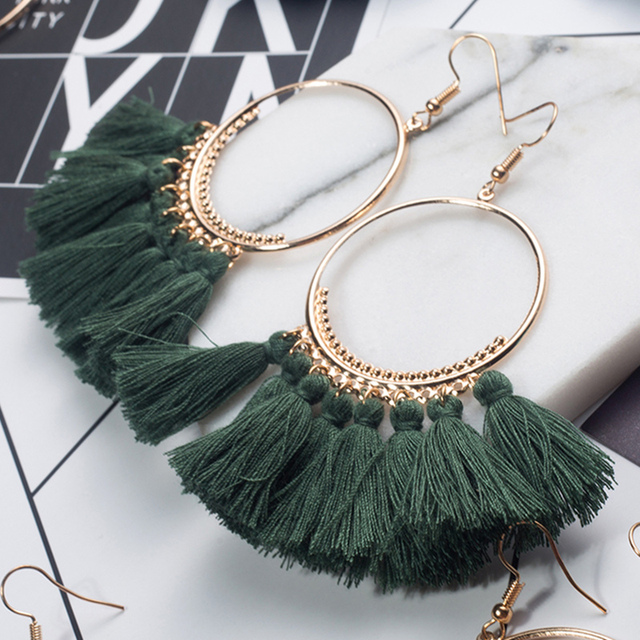 2018 Fashion Bohemian Ethnic Fringed Tassel Earrings for Women Golden Round Circle Ring Dangle Hanging Drop Earrings Jewelry 5