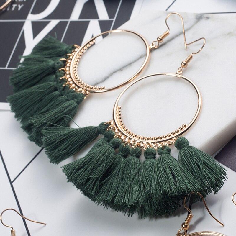 Купить на aliexpress 2018 модные богемные этнические кисточки с бахромой серьги для женщин Золотой Круглый Круг Кольцо Висячие серьги ювелирные изделия