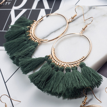 Ring Dangle Tassel Bohemian Earrings