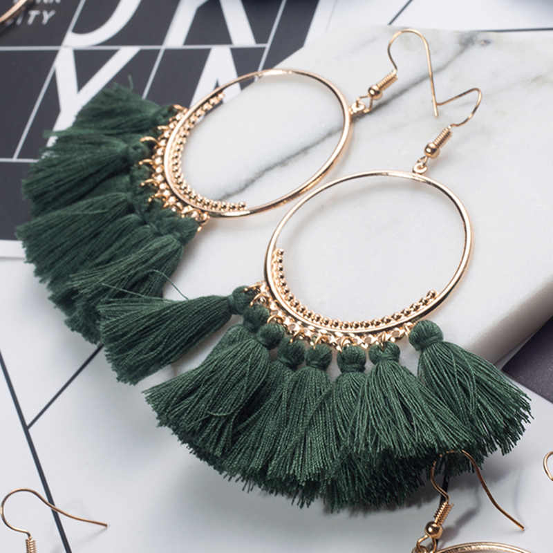 2018 Fashion Bohemian Ethnic Fringed Tassel Earrings for Women Golden Round  Circle Ring Dangle Hanging Drop 4d25ac14feb6