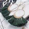 2018 Fashion Bohemian Ethnic Fringed Tassel Earrings for Women Golden Round Circle Ring Dangle Hanging Drop Earrings Jewelry