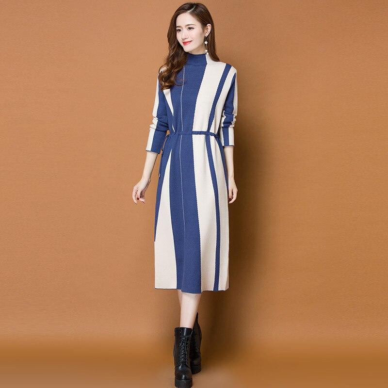 3072447558c Automne Chaud Pull Tricoté Rayé Col Robes Longues bleu Robe Manches Parti  Femmes À Hiver marron ...
