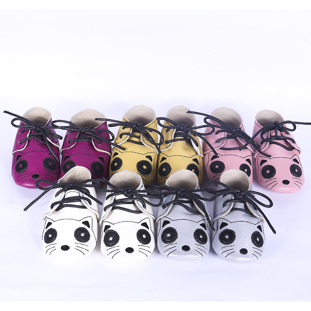 Cartoon Cat Genuine leather Baby shoes Toddler Lace-up Baby moccasins Baby boys girls Shoes First Walkers Free shipping