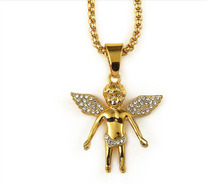 1pcs free shipping 18K Gold Plated Iced Out CZ Cherub Standing Baby Angel Charm Necklace pendant Chain Hip Hop Necklace women