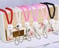 Para el iphone/samsung/huawei teléfono móvil correa de cordón rosa negro perla colgante cuello colgante cadena regalos 80 cm