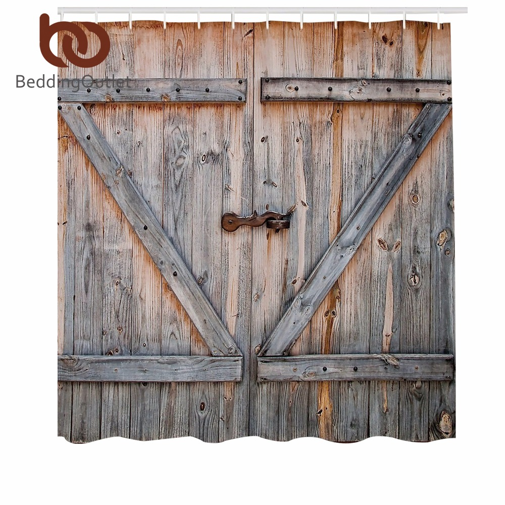 Beddingoutlet Wooden Garage Door Shower Curtain American Style Decorations For Bathroom Vintage Rustic Decor Polyester Fabric