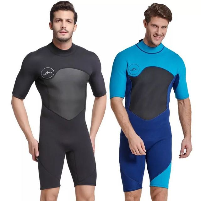 ccaa6f964 NEW 2mm Mens Short Wetsuit Black Thermal One-piece Fullbody Short Sleeve  Rash Guard for Snorkeling Scuba Diving Surfing