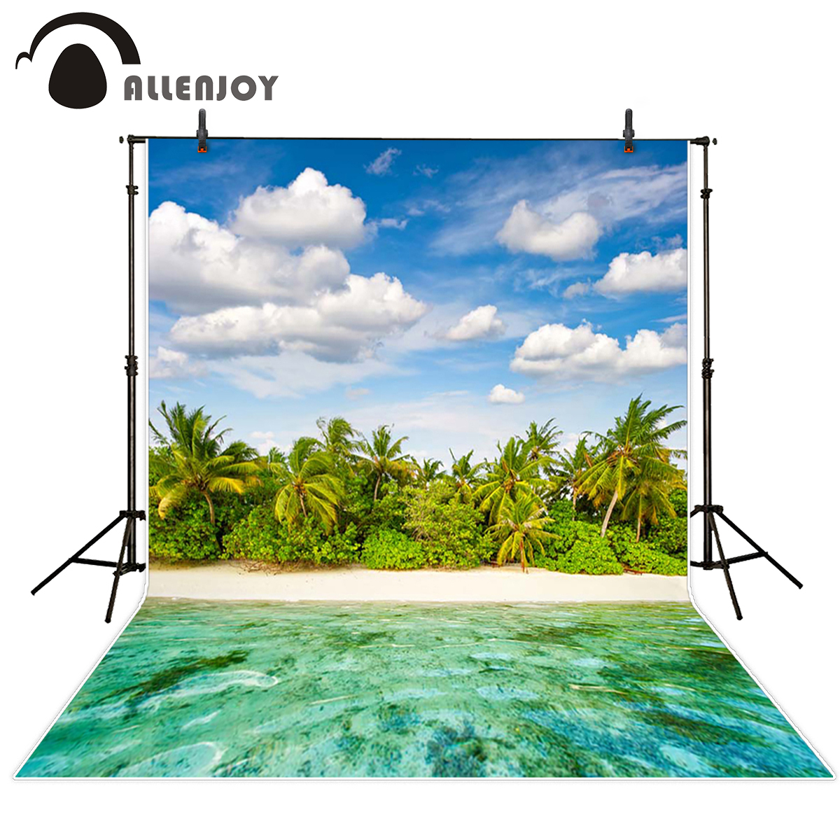 Allenjoy scenery photo backdrop Island coconut tree clouds beach photocall studio background For a photo shoot vinyl cloth allenjoy vinyl photo studio background football game backdrop picture children s photocall