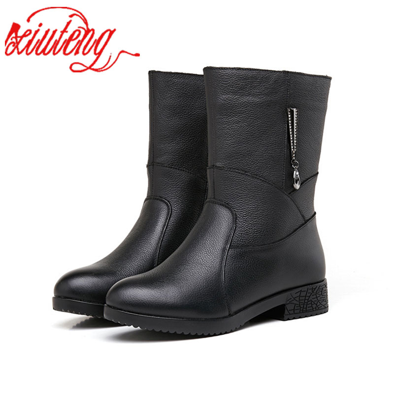 Xiuteng New Autumn And Winter Genuine Leather Shoes Mother Shoes Soft Bottom Women's Boots Warm And Velvet Boot Women Gift huizumei new genuine leather women s boots autumn and winter shoes retro handmade round toe soft bottom rubber ankle ladies boot