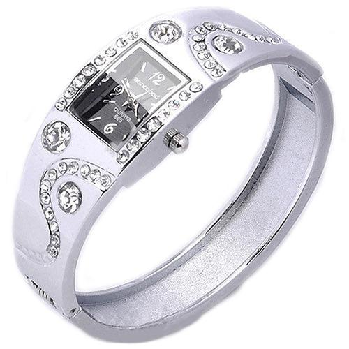 2014 New Hot Fashion Women Bracelet Bangle Wave Rhinestone Crystal Wrist Watches 3FMN