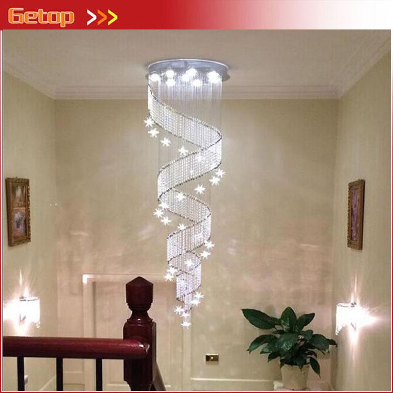 zx llevados modernos de cristal tornillo araa contrajo estrellas espiral desvn escalera droplight brillo gu lmpara