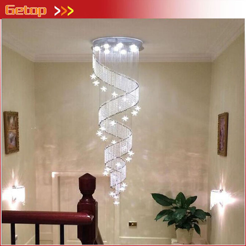 ZX Modern LED Crystal Screw Chandelier Contracted Stars Loft Spiral Staircase Droplight Lustre GU10 Villa Lamp Free Shipping