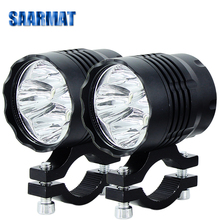 Pair Led motorcycle headlight MINI Size front auxiliary lamp Strobe spot head lights accessories Fog bulb moto +one switch(free)