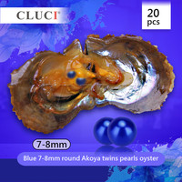 CLUCI Бесплатная доставка, 20 шт. 7 8 мм AAA Королевский Синий Круглый Akoya устрицы, близнецы жемчуг в каждом устрицы, получить 40 соленой воды жемчуг