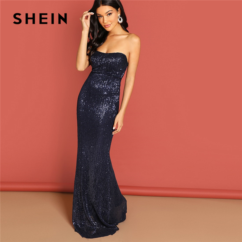 SHEIN Navy Elegant Sequin Mesh Strapless Bodycon Evening Gown High Waist Zipper Back Solid 2019 Summer Women Party Dresses