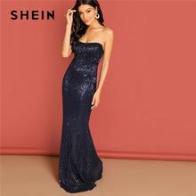 SHEIN Navy Elegant Sequin Mesh Strapless Bodycon Evening Gown High Waist Zipper Back Solid 2019 Summer Women Party Dresses