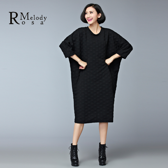 2015 Women's Dresses European Style Casual Winter Thick Cotton Black Gray Plus Size Knee-Length Dress vestidos (R.Melody DS0158)