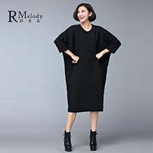 2015 Women's Dresses European Style Casual Winter Thick Cotton Black Gray Plus Size Knee-Length Dress vestidos (R.Melody DS0158)