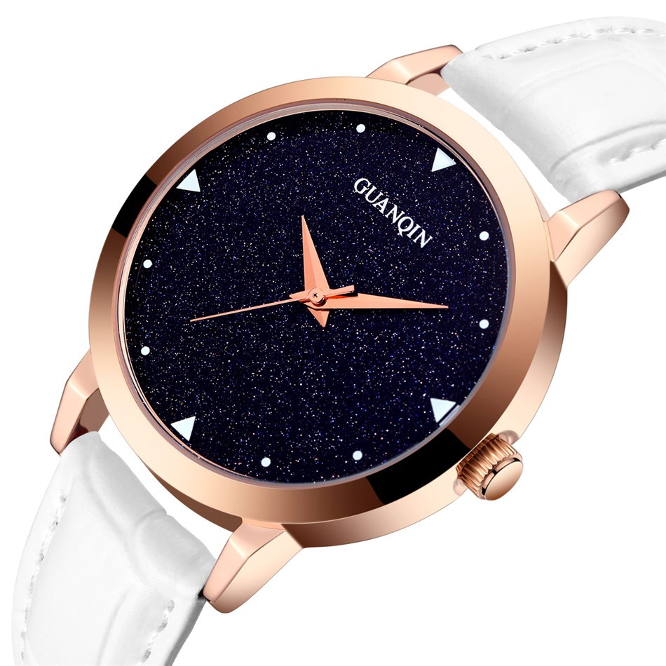 ФОТО New GUANQIN Watch Women Dress Fashion Casual Leather Wristwatch Starry Sky Design Simple Quartz Watch Ladies relogio feminino