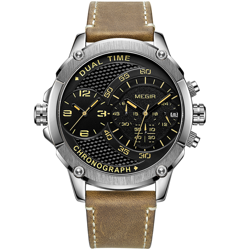 цена на MEGIR Men Watch Top Brand Luxury Male Leather Waterproof Sport Quartz Chronograph Military Wrist Watch Men Clock relojes hombre