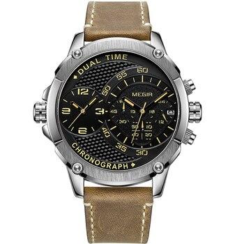 MEGIR Men Watch Top Brand Luxury Male Leather Waterproof Sport Quartz Chronograph Military Wrist Watch Men Clock relojes hombre
