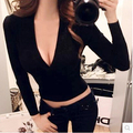 15 Colors Autumn and winter sweater female sexy top slim deep V-neck basic Sweater short design long sleeve tight crop tops
