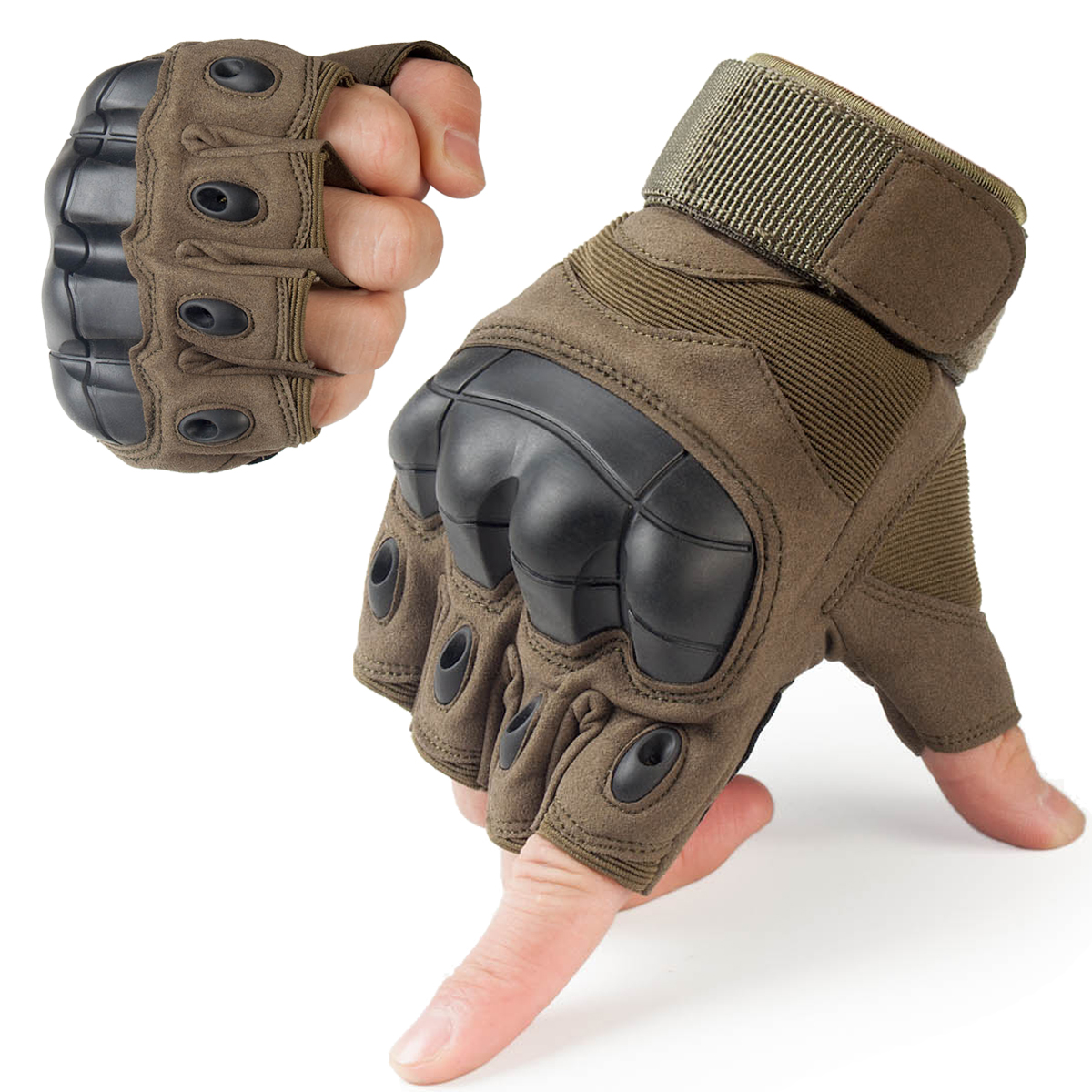 Fingerless impact gloves - Tactical Fingerless Gloves Military Army Combat Paintball Airsoft Shooting Anti Skid Carbon Hard Knuckle Half