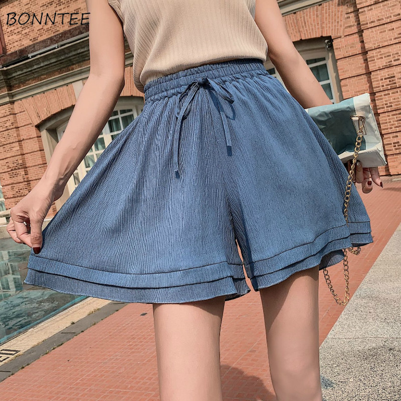 Shorts Women Wide Leg Solid High Quality Soft Short Elegant Womens Loose Korean Style Sweet Elastic 2019 Summer Ladies Bow Daily